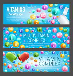 Vitamin and mineral pills banners vector
