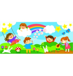 Wide strip with happy kids vector