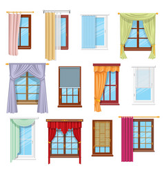 Window curtains draperies blinds home interior vector