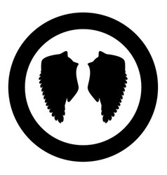 wing icon black color in circle or round vector image