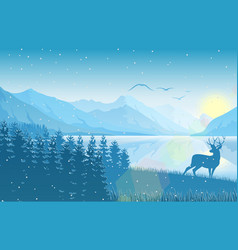winter mountain landscape with deer on lake vector image