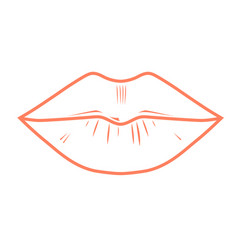 Woman full lips outline - kiss imprint vector