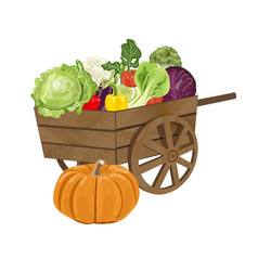 Wooden cart with vegetables vector