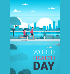 World health day poster with couple jogging in vector