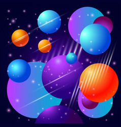 abstract beautiful background with planets and vector image vector image