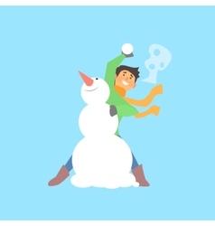 Boy throwing snowball and a snowman vector