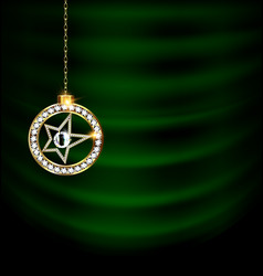 Green drape with jewel christmas star vector