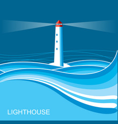 lighthousesea waves blue night background for vector image vector image