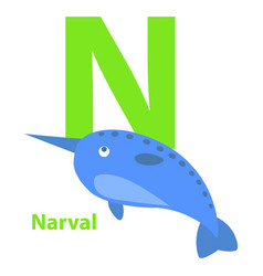 lime green letter n narval on kid education card vector image vector image