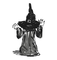 line sketch of a child in a halloween costume vector image