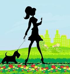 Pretty girl walking the dog vector image