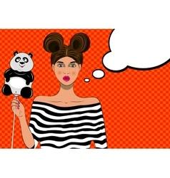 Pretty pop art girl with balloon vector image