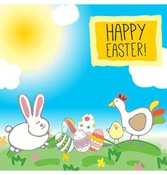rabbit eggs chicken vector image