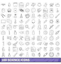 100 science icons set outline style vector image
