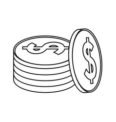 coins currency money stack thin line vector image vector image