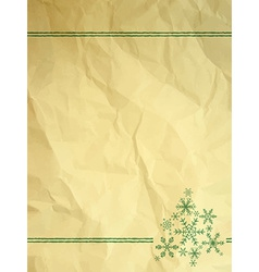 Crumpled paper with snowflakes vector image