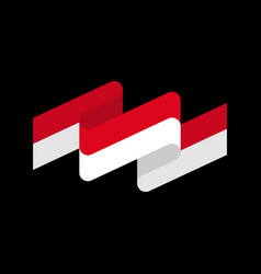 indonesia flag ribbon isolated indonesian tape vector image vector image