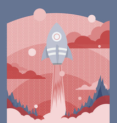 poster design with a rocket flying to outer space vector image