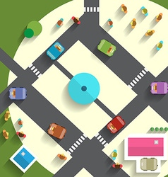 Top View Streets and Cars vector image