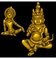 Two Golden figures of male and female deities vector image vector image