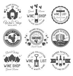 Wine Shop Black White Emblems vector image vector image