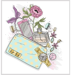 Background with purse mobile phone perfumeflowe vector image vector image
