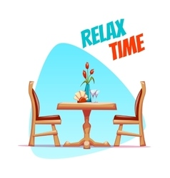 cafe table with two chairs vector image
