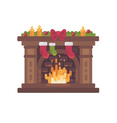 decorated christmas fireplace with stockings vector image