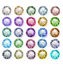 set of precious stones of different colors vector image vector image