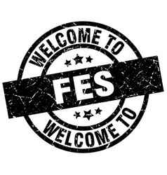 welcome to fes black stamp vector image vector image
