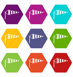 Windsock icon set color hexahedron vector