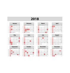 calendar for 2018 year design print template week vector image