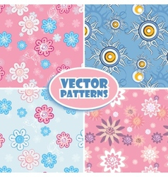 Set of seamless backgrounds pink and blue vector image