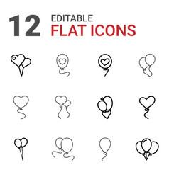 12 balloons icons vector