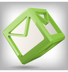 3D Cube with Mail Icon vector image