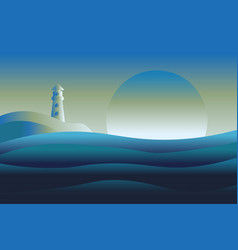 abstract design of lighthouse and sea ocean vector image