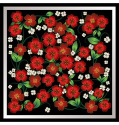 abstract red floral ornament on black background vector image