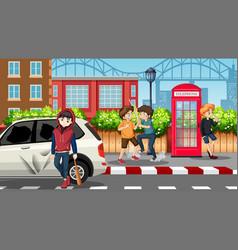 bad teengaers in street vector image