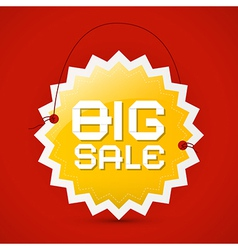 Big sale icon - orange label on red background vector image