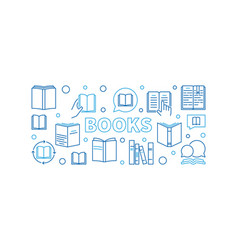 books horizontal outline or vector image