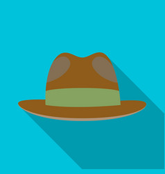 brown hat with a brim headdress investigator for vector image