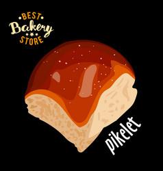 butter sweet bun for dinner baked bread vector image