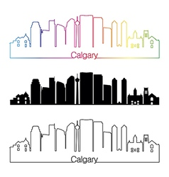 Calgary V2 skyline linear style with rainbow vector
