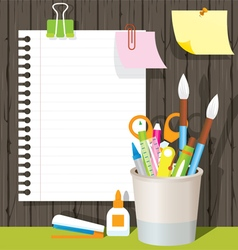 Can Holder with Office Supplies and Stationery vector image