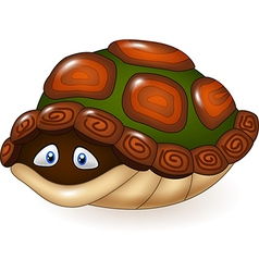 Cartoon funny turtle hides in its shell vector image