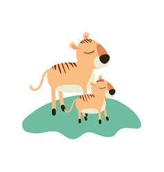 Cartoon tiger mom and cub over grass in colorful vector