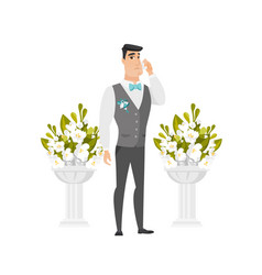 Caucasian groom crying during wedding ceremony vector