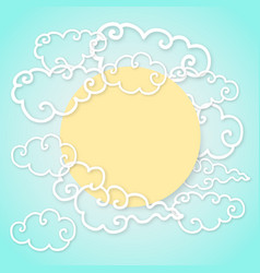 Chinese paper cut style clouds and sun or moon vector
