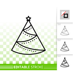 christmas tree simple black line fir icon vector image