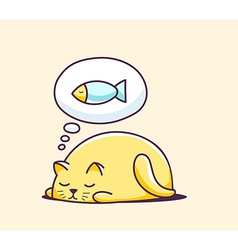Color sleeping character cat on yellow ba vector